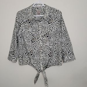 Chico's Animal Print Button Shirt With Front Tie